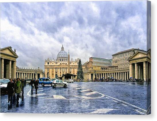 Storms Over St Peter's Basilica In Rome Canvas Print by Mark Tisdale