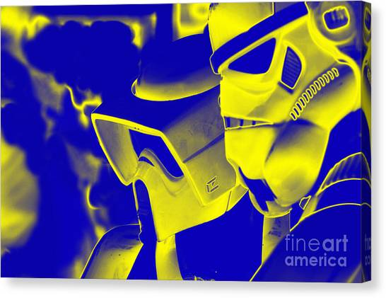 Stormtrooper And Biker Scout Canvas Print by Micah May