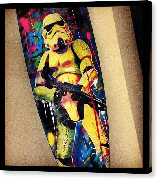 Stormtrooper Canvas Print - Stormtrooper On Recycled Surfboard by Gavin Mccrea