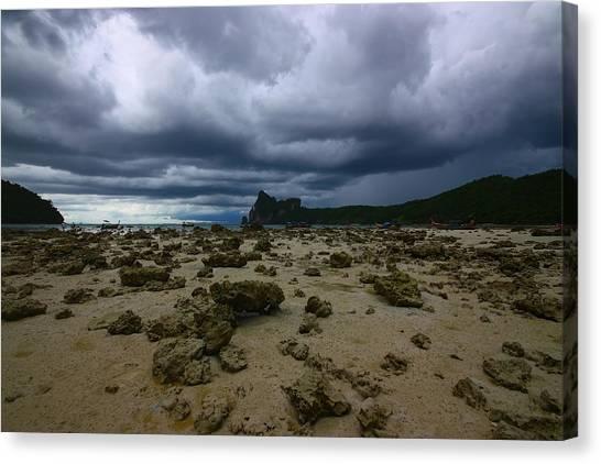 Phi Phi Island Canvas Print - Stormy Beach by FireFlux Studios