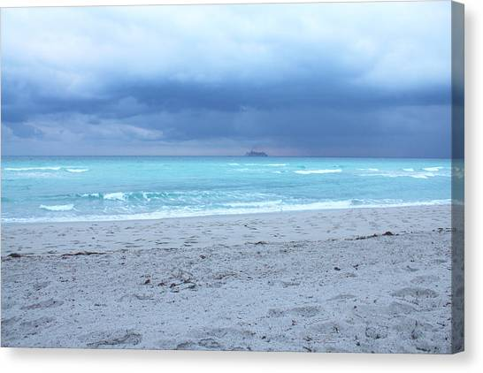 Stormy Beach Canvas Print by Gary Dunkel
