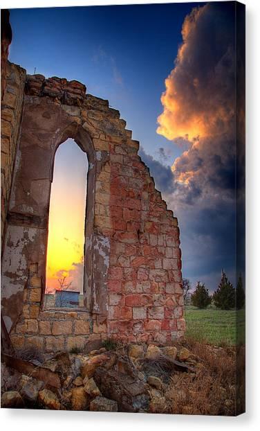 Prairie Sunsets Canvas Print - Stormy Church by Thomas Zimmerman