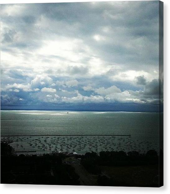 Harbors Canvas Print - Stormy Clouds Making Way For Sunshine by Jill Tuinier