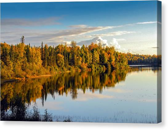 Stormy Lake Alaska In Autumn Canvas Print