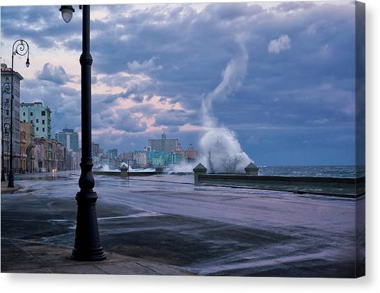 Pier Canvas Print - Stormy Malecon by Mike Kreiten