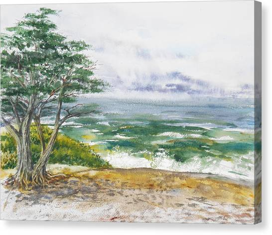 Irina Canvas Print - Stormy Morning At Carmel By The Sea California by Irina Sztukowski