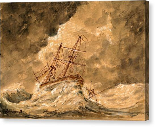Storm Clouds Canvas Print - Stormy Sea  by Juan  Bosco