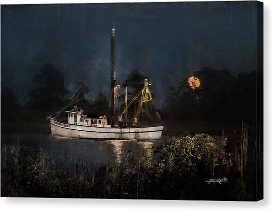 Stormy Seas Moonrise Return Canvas Print