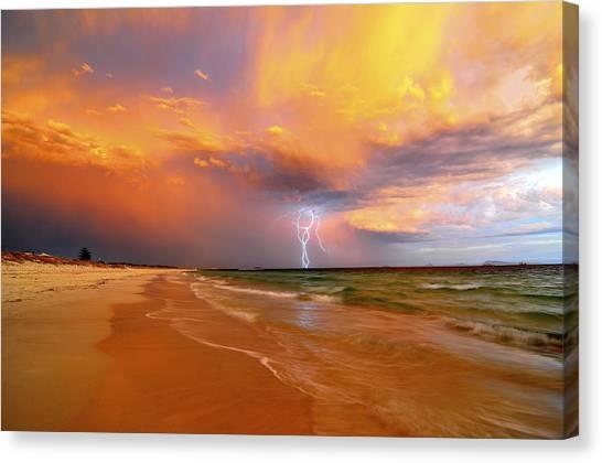 Stormy Skies - Lightning Storm In Esperance Canvas Print by Sally Nevin