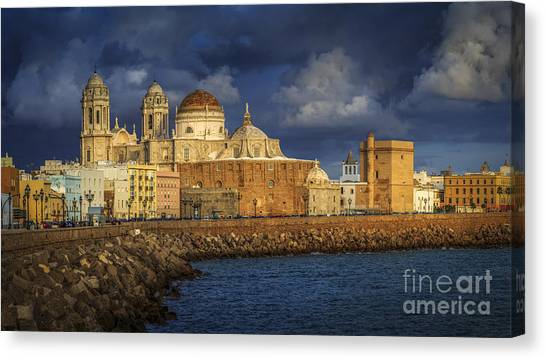 Stormy Skies Over The Cathedral Cadiz Spain Canvas Print