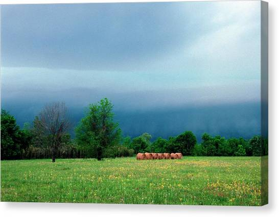 Hay Bales Canvas Print - Stormy Sky Over Hay Bales by Jim Reed Photography/science Photo Library