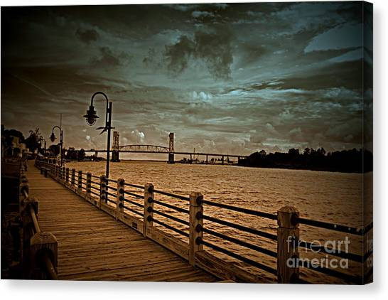 Stormy Wilmington Riverwalk  Canvas Print