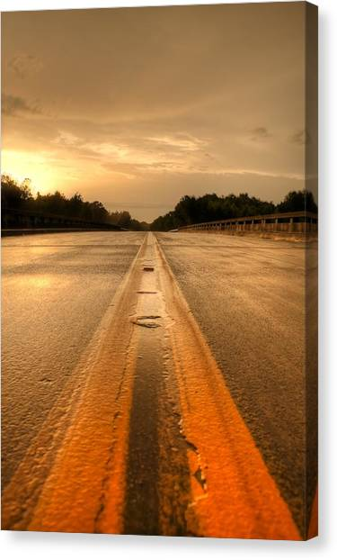 Stormy Yellow Lines Canvas Print by David Paul Murray