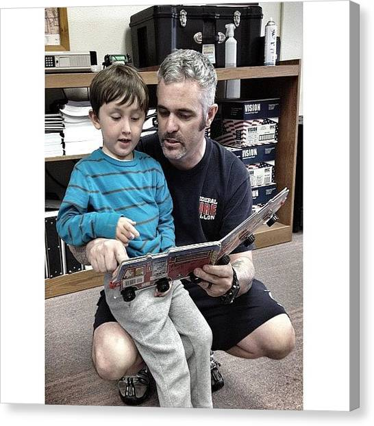 Firefighters Canvas Print - Story Time With A Future Firefighter by James Crawshaw