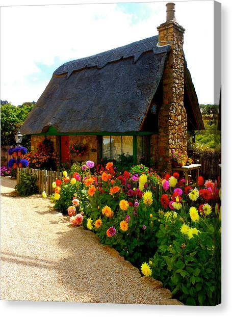 Storybook Cottage By The Sea Canvas Print