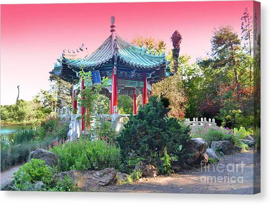 Stow Lake Pagoda In Golden Gate Park In San Francisco Canvas Print by Jim Fitzpatrick