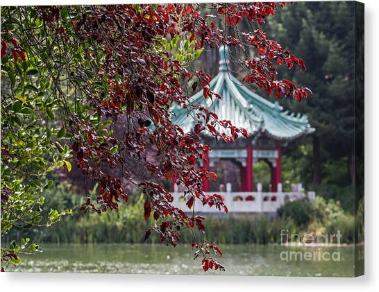 Canvas Print featuring the photograph Stow Lake Pavilion by Kate Brown