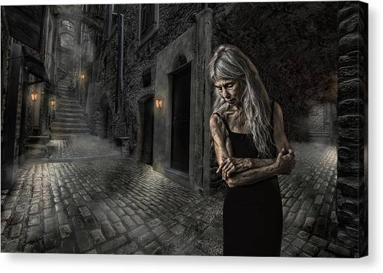 Lady Canvas Print - Stowing Away The Time by Claude Brazeau