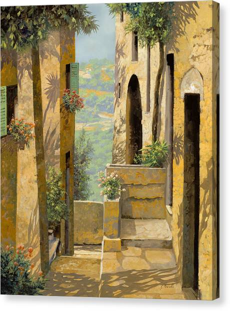 Villages Canvas Print - stradina a St Paul de Vence by Guido Borelli
