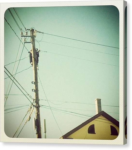 Jerseys Canvas Print - Straight Up #powerlines #house #roof by Red Jersey