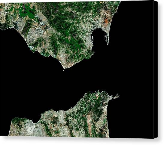 Mount Vesuvius Canvas Print - Strait Of Gibraltar by Mda Information Systems/science Photo Library