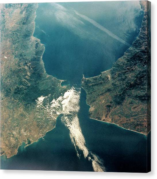 Strait Of Gibraltar Canvas Print by Nasa/science Photo Library