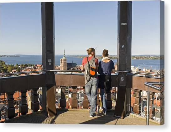 Stralsund From St Marys Church Germany Canvas Print by David Davies