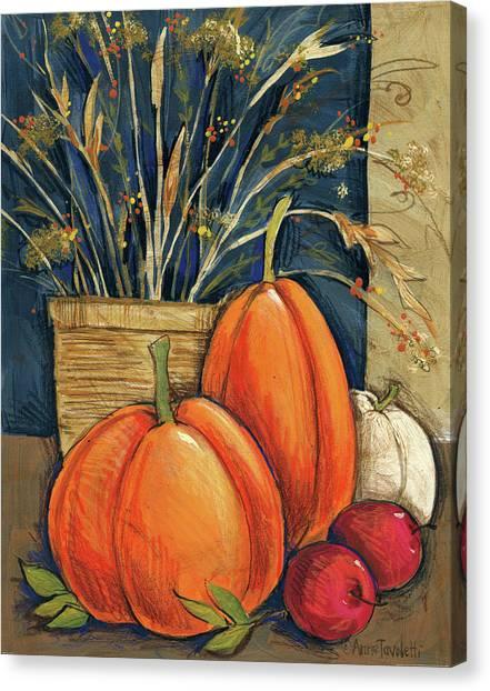 Autumn Canvas Print - Straw Basket by Anne Tavoletti