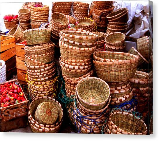 Straw Baskets Canvas Print