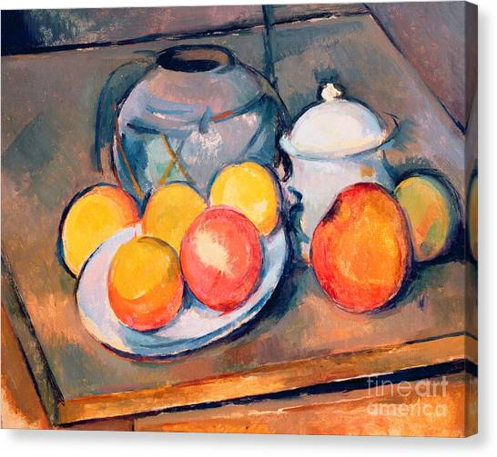 In Bloom Canvas Print - Straw Covered Vase Sugar Bowl And Apples by Paul Cezanne