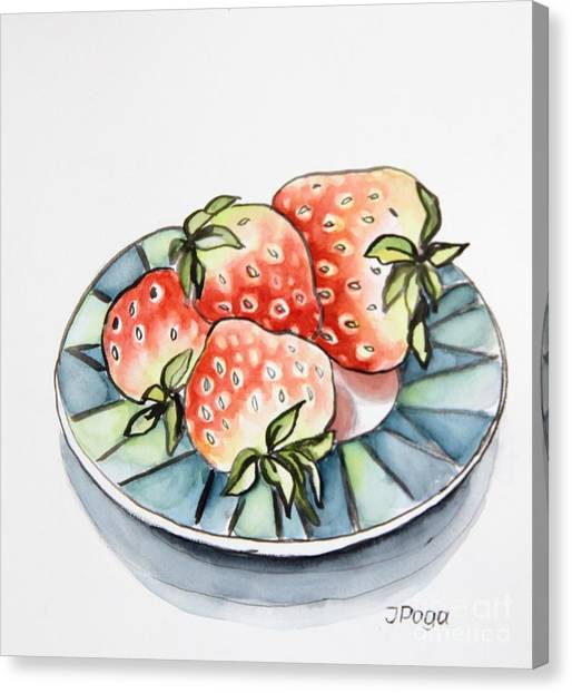 Strawberries On Plate Canvas Print