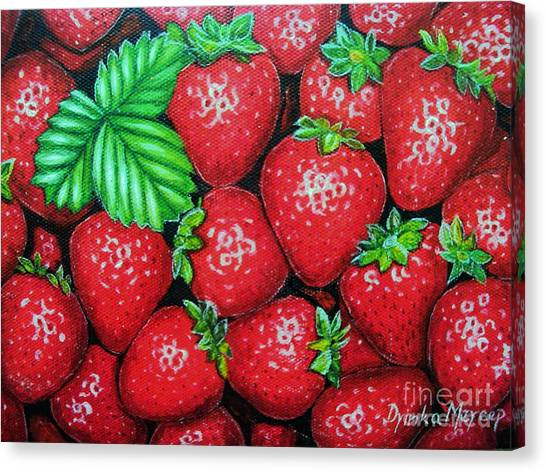 Strawberries Painting Oil On Canvas Canvas Print by Drinka Mercep