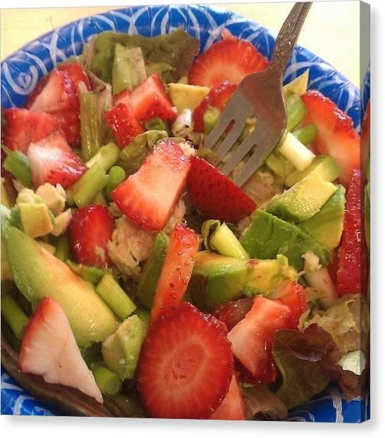 Lettuce Canvas Print - #strawberry #avocado #salad #onion by Rachel Friedman