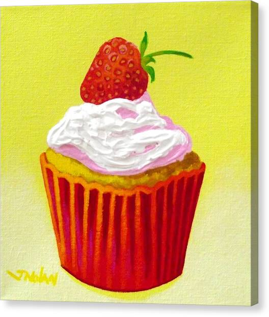 Strawberry Cupcake Painting by John Nolan