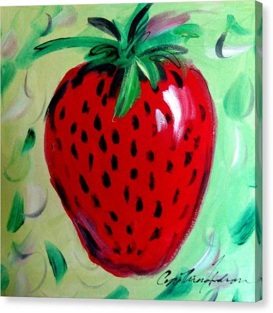 Strawberry Canvas Print by Cynthia Hudson