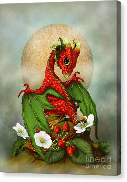 Dragons Canvas Print - Strawberry Dragon by Stanley Morrison