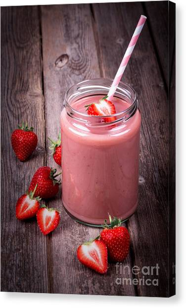 Smoothie Canvas Print - Strawberry Smoothie by Jane Rix