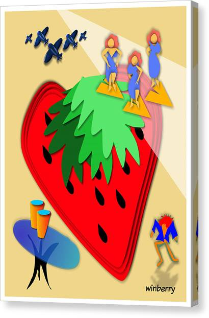 Strawberry Wars Canvas Print by Bob Winberry