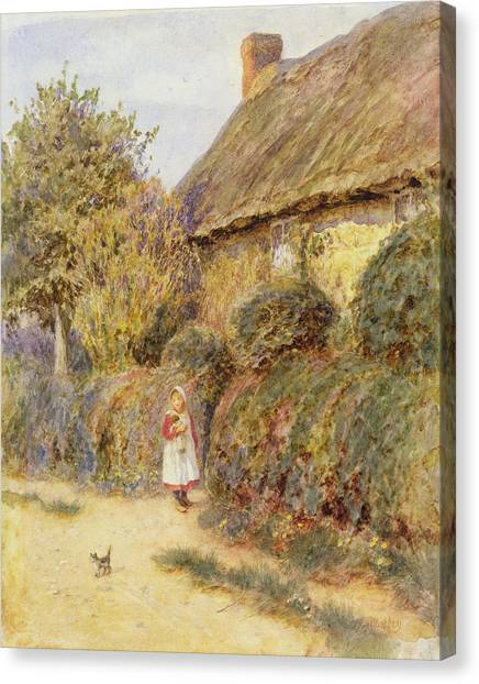 Pinafores Canvas Print - Straying  by Helen Allingham