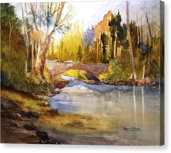 Stream And Bridge Canvas Print