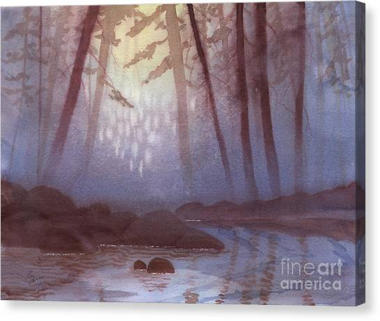 Stream In Mist Canvas Print