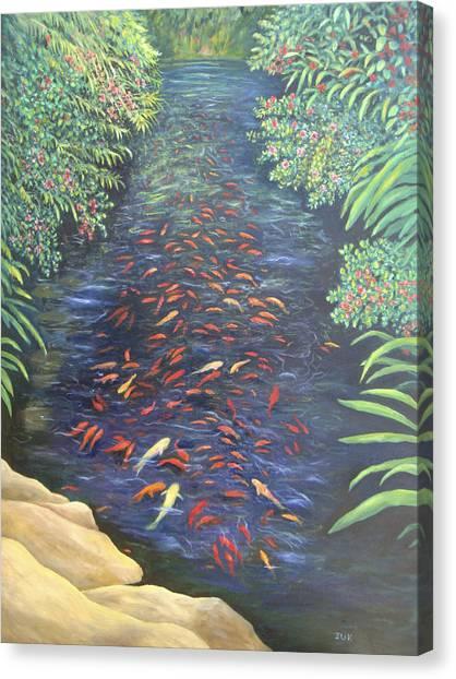 Stream Of Koi Canvas Print