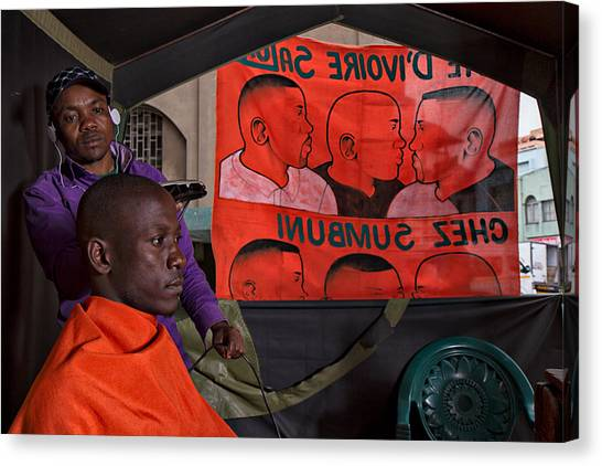 South African Canvas Print - Street Barber by Louis Kleynhans