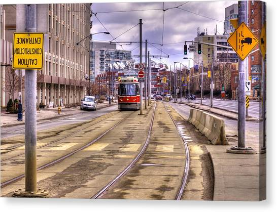 Street Car On Lakeshore Canvas Print