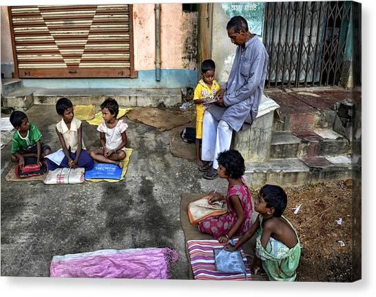Student Canvas Print - Street Education by Avishek Das