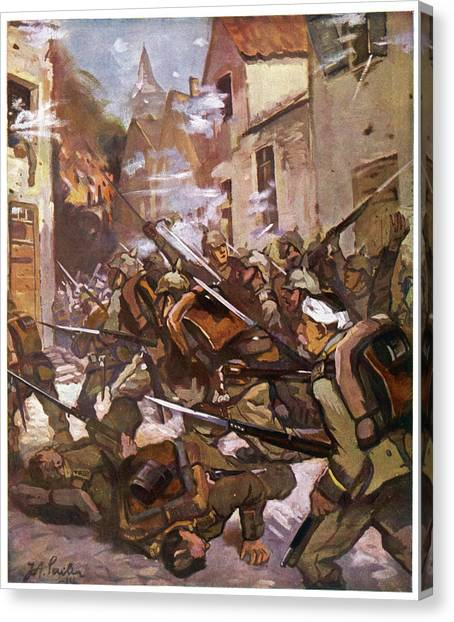 Street Fighting In A French  Village Canvas Print by Mary Evans Picture Library