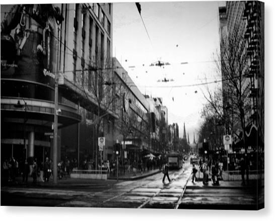 Street In Melbourne  Canvas Print by Sanjeewa Marasinghe