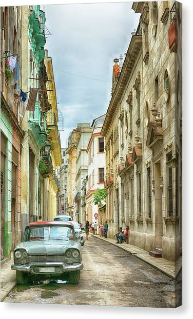 Street In Old Havana, Cuba, After Rain Canvas Print by Elisabeth Pollaert Smith
