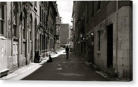 Street In Sunshine Canvas Print by Jocelyne Choquette