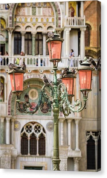Byzantine Art Canvas Print - Street Lamp At Basilica San Marco by Russ Bishop